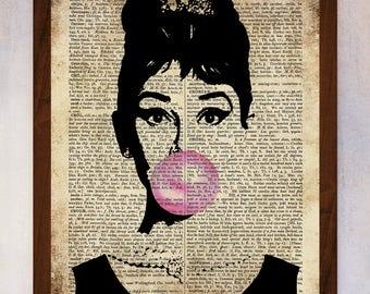 Audrey Hepburn Art Printable, Audrey Hepburn Wall Art, Book Page Print, Dictionary Page Print, Audrey Hepburn Poster, Audrey Bubble Print