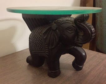 Wodden Carved Elephant Statue With Glass Top (N0081)