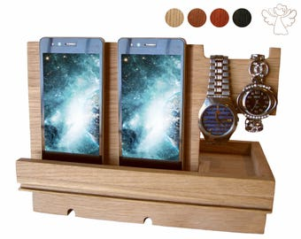 Docking station Father's day gift Phone stand wood Phone dock Apple watch stand Desk organizer iPhone holder iWatch dock Charging station