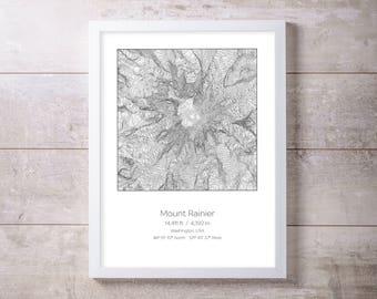 Mt Rainier, Washington, Elevation Topography Print Wall Art