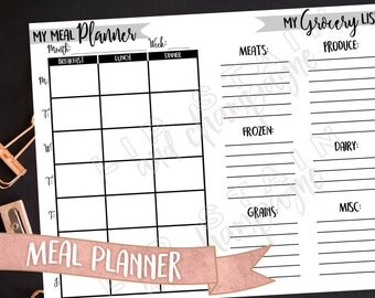 Meal Planner and Grocery List - DIGITAL DOWNLOAD