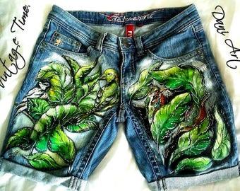 Recycled Handpainted denim shorts /Custommade Denim/Handmade Jeans/Unique Denim/ Recycled Jeans / Street Style/Short Denim!