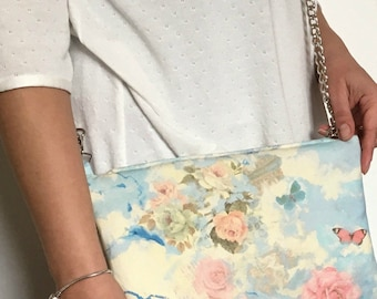 Fabric bag shoulder bag with faux leather back