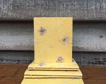 Hand Bound Journal Covered with Yellow Handmade Paper