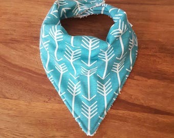 Teal and White Arrow Print Baby Bandana Bib
