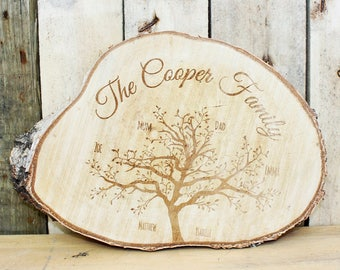Laser Engraved, Personalised Family Tree Log Slice, Individual Names & Family Surname, Free-standing