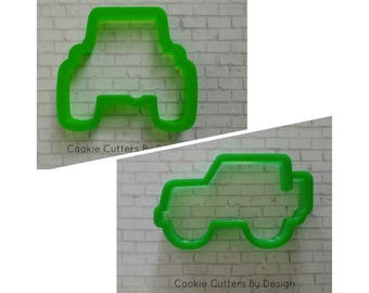 Jeep Cookie Cutter / Cookie Cutters / Jeep Front View Cookie Cutter / Jeep Side View Cookie Cutter / 4 x 4 / Army / 3D Cookie Cutters