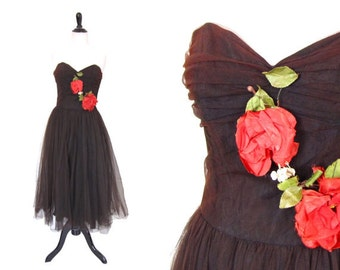 Vintage 1950's Tulle Prom Dress - Size Small