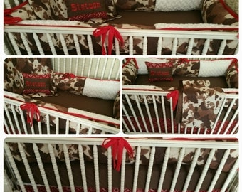 Cowprint 5 piece Crib Bedding