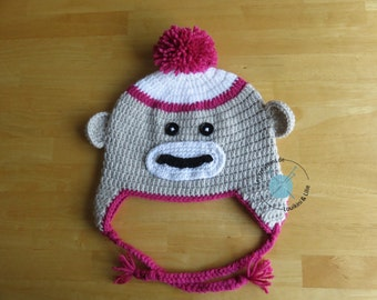 Toque monkey. Spring/fall. Baby, child, adult. Custom main.Commande fact