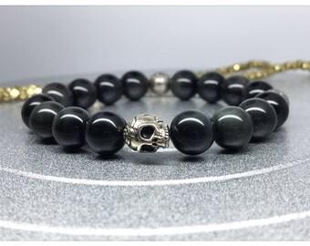 Silver Plated Skull/Rainbow Obsidian Beads Yoga Mala Bracelet. Healing Natural Gemstone Bracelet. Stretch Bracelet.