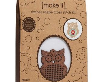 Cross stitch timber kit, Timber Shape Cross Stitch Kit, cross stitch kit - Owl