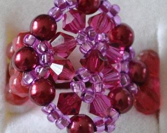Snowflake ring pink & purple