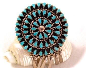 Vintage ZUNI TURQUOISE PENDANT Pin Native American Zuni Sterling Silver Needlepoint Turquoise Sun Pendant
