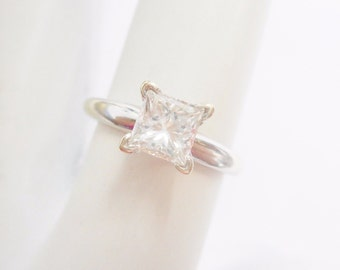 Diamond Ring, Engagement Ring, Diamond Solitaire, Princess Cut, 14k White Gold .84 Carat Princess Cut Diamond Solitaire Ring #2546