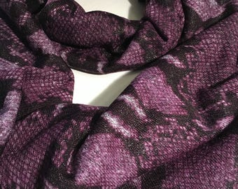 Infinity Scarf, Shimmering Purple Python