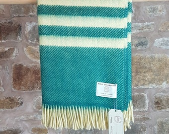Bronte By Moon - Pure British Wool Throw Green Stripe Factory Seconds