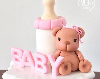 Edible Fondant Baby Bear Cake Topper