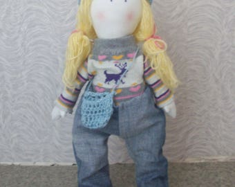 Handmade textile doll Katty