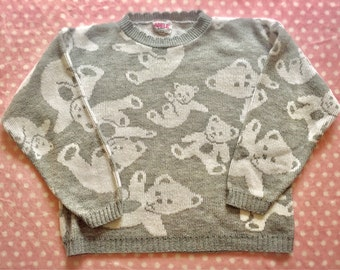 Vintage Adele 80s 90s Grey and White Teddy Bear Sweater