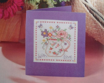 Embroidery Kit, Cross Stitch, DIY Kits, Cross Stitch Embroidery, Flower Embroidery, Greeting Card, Postcard Creations.