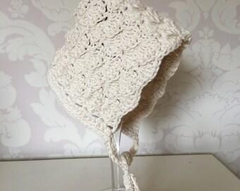HANDMADE Crochet Cream Pixie Bonnet - 100% Cotton - Baby Bonnet - 3-6 months - CHRISTENING BAPTISM