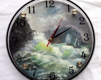 Wood handmade clock Wave