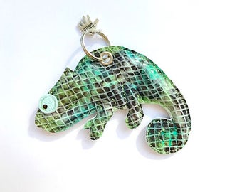 Chameleon leather pendant