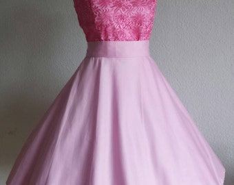 Rockabilly 50s prom wedding dress with embroidered corset in pink