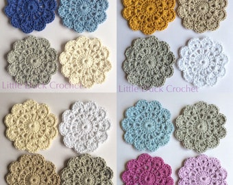 Set of 4 crochet coasters, 4 colours sets to choose from