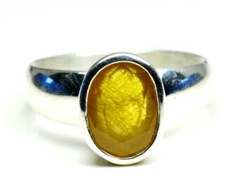 Yellow Sapphire Simple Ring,Sapphire Simple Ring,Gemstone Ring,925 Sterling Silver Ring,Natural Gemstone SImple Ring,Yellow Simple Ring,