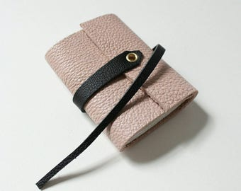 Mini leather notebook made with recycled paper, Travel notebook, Drawing notebook, Pink leather notebook, Pink and black notebook