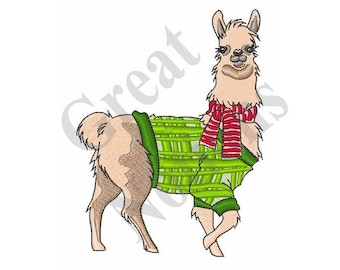 Christmas Llama - Machine Embroidery Design