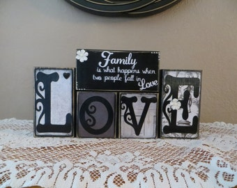 Love Wood Blocks Family Together Life Black & White Home Accents