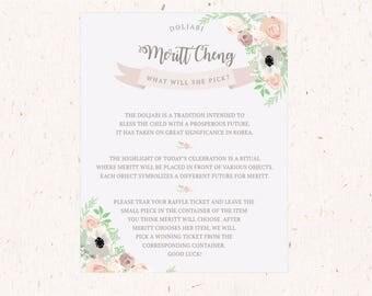 Botanical Garden Doljanchi, Blush Floral Doljabi Explanation and Instructions, blush, pink, green, lavender 8x10
