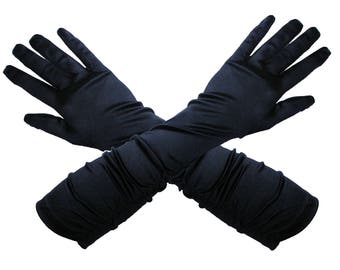 Black satin long gloves evening gloves opera gloves