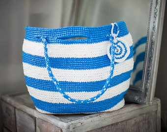 Sea Big Tote Plarn Ecofriendly Handbag with Blue & White Stripes Large Beachbag Upcycled Plastic Bags Greece Style Summer Bag