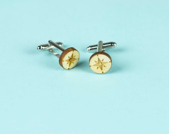 Men's cufflinks in wood, lasercut: Compass