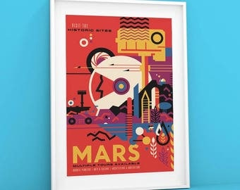 Mars | NASA Poster Visions of the Future space travel poster, Space Tourism Giclée Print of The Red Planet