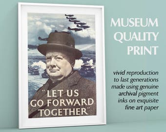 "Winston Churchill WWII | World War Two Poster, Advertisement | ""Let Us Go Forward"" Famous Quote Poster Print British Art"