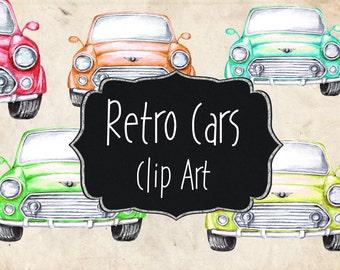 Digital Vintage Car Clip Art Antique Car ClipArt Retro Car Clipart Old Cars Blue Car Red Car Watercolor Truck Scrapbooking Cars DG27