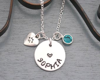 Personalized Paw Necklace, Paw Necklace, Paw Heart Name Necklace, Pet Lover Necklace, Name Birthstone, Dog Lover Gift, Cat Lover Gift Custom