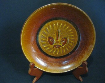 Vintage Swiss Decorative Bowl, Swiss Pottery, Sun Motif Bowl