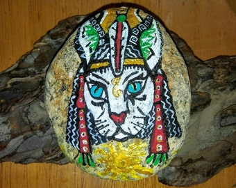 Hand Painted Beach Stones/ Ancient cats