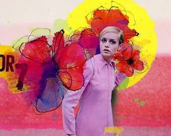 "Twiggy inspired, Digital Art collage "" Beginning of blossoming "", Digital art on canvas, art collage, wall art, home decor"