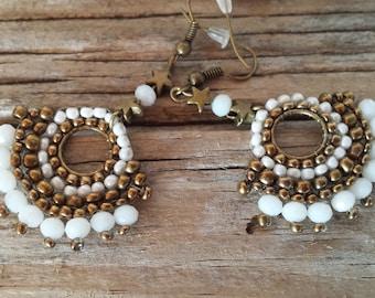 Handmade jewelry, long bead earrings, bohemian earrings, long earrings, antique gold mostacilla earrings, ibiza earrings