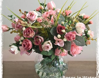 Floral Arrangement - Pink Vintage Roses- flower arrangement