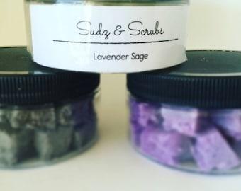 Sugar scrub lavender sage, mint, Sandalwood, Amber romance, bamboo teak individual sugar scrub cubes