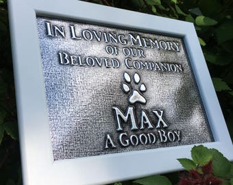 Personalized Pet Memorial Plaque Embossed Metal Dog Memorial Plaque K9 Name Plate Memorial Plaque K9 Memorial