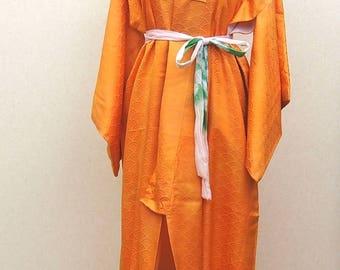 orenge  kimono robe / vintage Japanese kimono